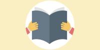 Affichette : dessin d'un livre ouvert (gris-mauve) et deux mains qui le tient comme une personne qui lit.